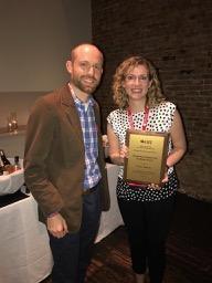 2017 Teaching Prize winner Casey Ankeny (right) with Awards Chair Mike Rust (left)