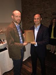 2017 Pilkington winner, Joe Tranquillo (right) with Awards Chair Mike Rust (left)
