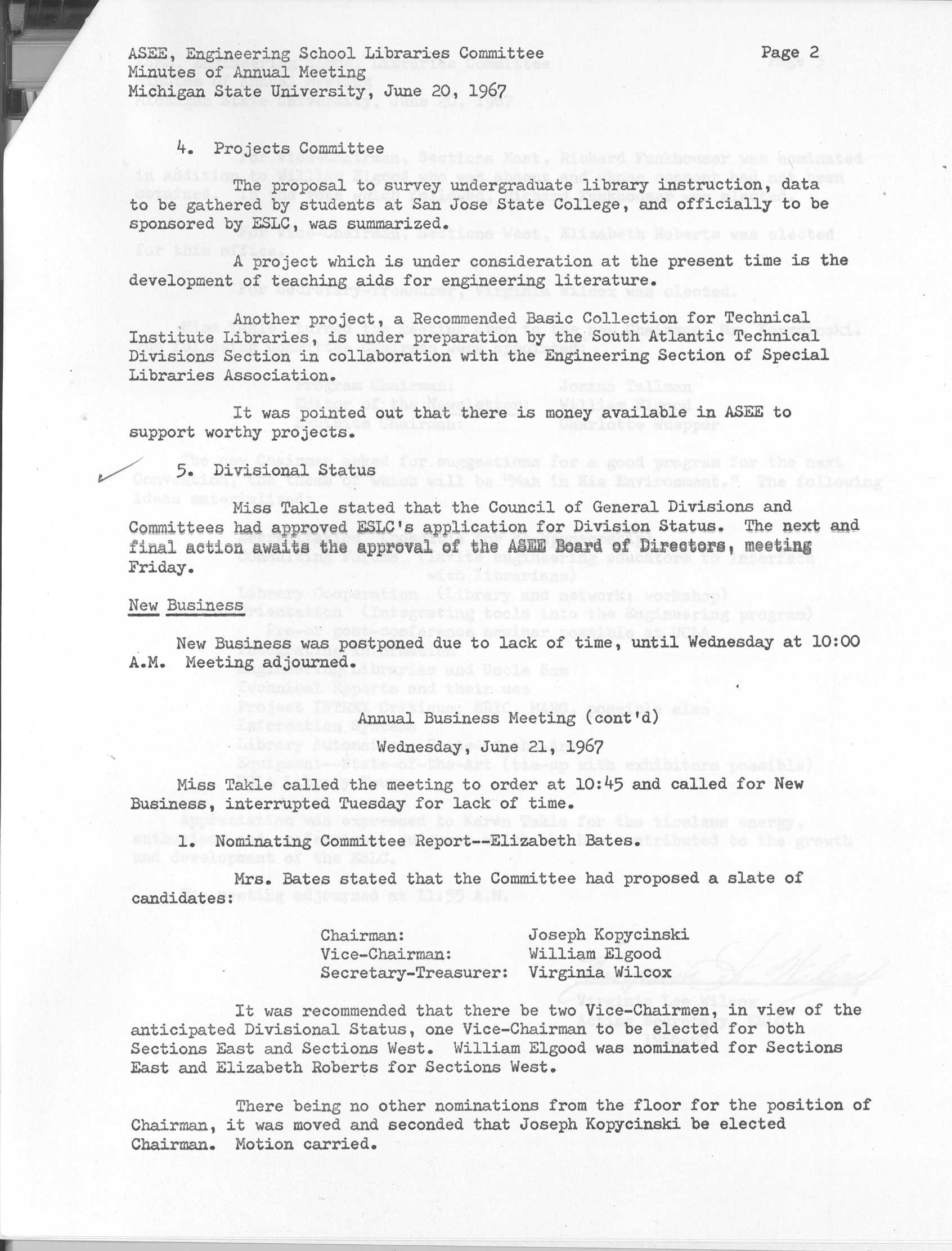 Announcement of division status (1967)