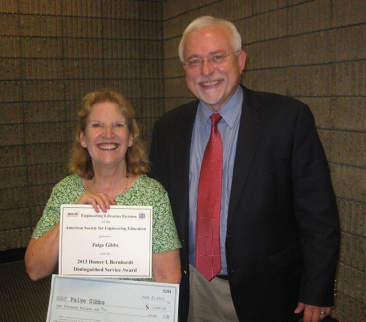 Paige Gibbs receiving Bernhardt Award with George Zajdel, ASTM International