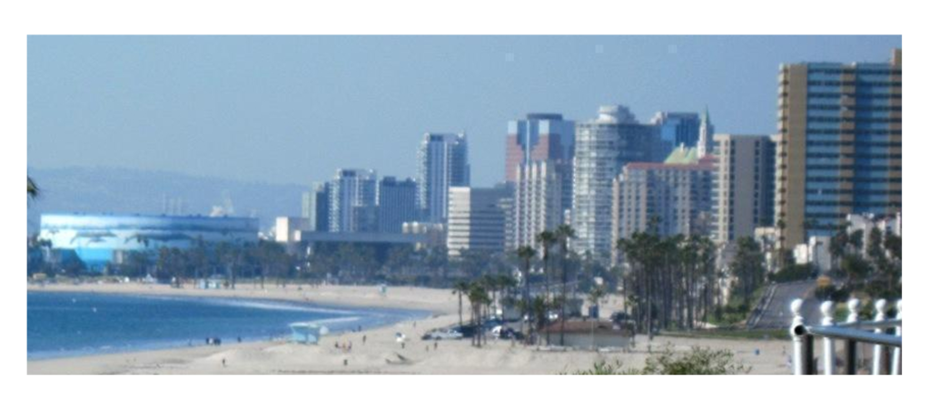 Beachscape view of the city of Long Beach, California