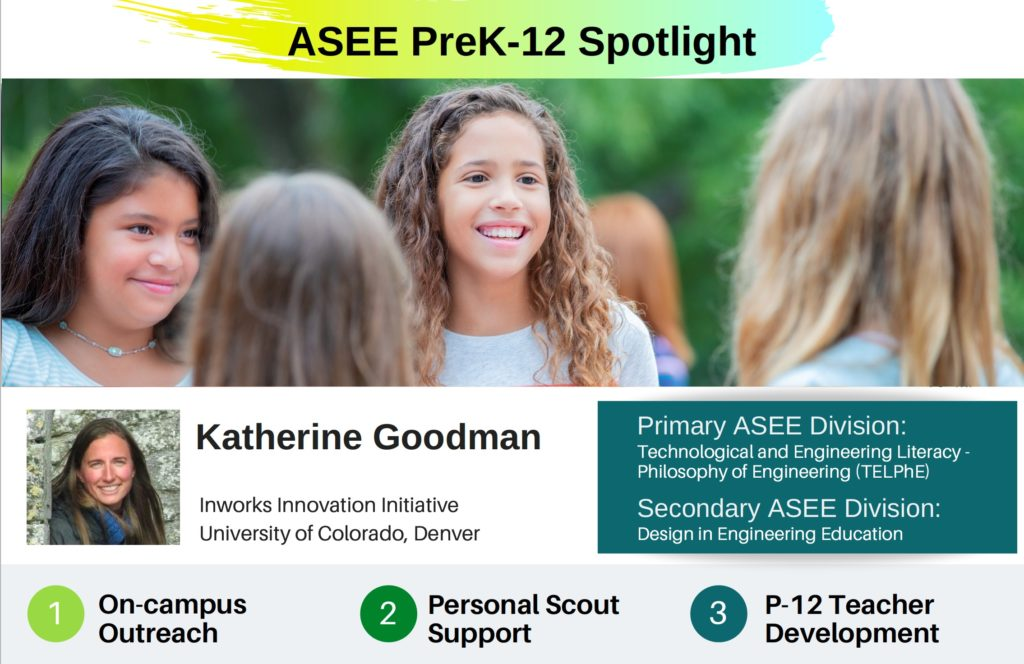 Picture of ASEE PreK-12 Spotlight for February is Katherine Goodman at the University of Colorado Denver. She is from the Technology and Engineering Literacy - Philosophy of Engineering Division at the American Society of Engineering Education.